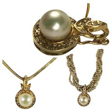 Fine Vintage 14k Gold, Pearl and Diamond Pendant, Hinged Enhancer for Necklace