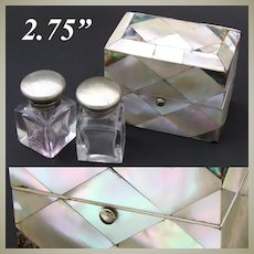 Antique Victorian Mother of Pearl & Abalone Marquetry Perfume Casket, Two Bottles