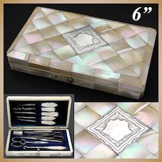 "Antique Napoleon III Mother of Pearl Parquet 6"" Sewing Etui, Casket, Sterling Cartouche"