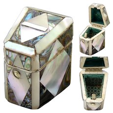 Antique French Napoleon III Mother of Pearl & Abalone Sewing Needle Case, Knife Box Shape