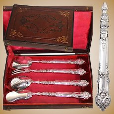 Antique French Sterling Silver 4pc Hors d'Oeuvre Implement Set, Figural Handles, Box
