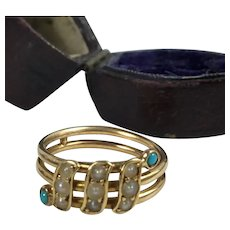 Antique 16k Gold and Seed Pearl, Turquoise Victorian to Edwardian Mourning Ring, size 8-8.5