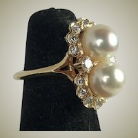Vintage 14k Cut Diamonds and 2  7mm pearls set in 14k Gold Pinky Ring, size 4