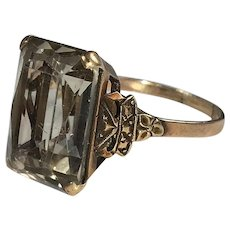Fine Vintage 1920-30 Smokey Topaz Cocktail Ring, 16mm x 12mm, Marked 9K Gold, Size 8