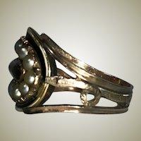 Antique Victorian to Georgian 14k Gold Mourning Ring, Snake, Seed Pearl, Hair Locket, Black Enamel.