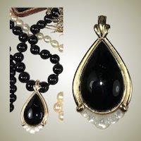 Vintage Jet Teardrop and Pearl Necklace Enhancer, Pendant 35mm Long