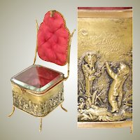 """Antique French 7"""" Miniature Chair Shaped Pocket Watch or Pendant Display, Jewelry Box, Figural Vitrine"""