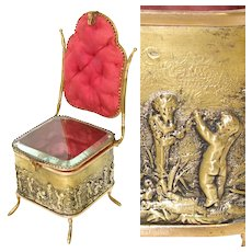 "Antique French 7"" Miniature Chair Shaped Pocket Watch or Pendant Display, Jewelry Box, Figural Vitrine"