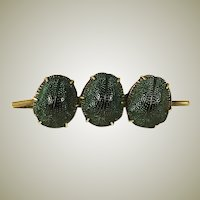 Antique Victorian 3 Scarab Bar Brooch, Excellent Condition, Real Egyptian Scarab Beetles