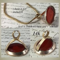"Antique Georgian to Victorian 14k Gold Sealing Wax Seal, Carnelian Matrix ""Betsy"", Pendant"