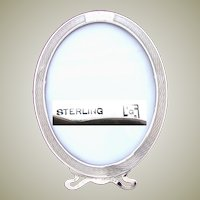 """Fine Antique American Sterling Silver 6.75"""" Picture Frame, Guilloche Style Engraving"""