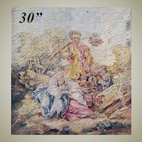 "RARE Superb Antique French Aubusson Silk Tapestry Panel, 30"" x 24.5"", Apres Boucher, Signed"