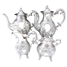 Gorgeous Antique Continental (nearly sterling) Silver 4pc Coffee & Tea Set, Ornate Louis XV or Rococo Style