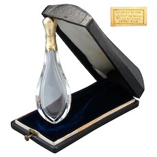 Antique French 18k Gold on Silver & Cut Crystal Scent or Perfume, Orig. Shaped Box