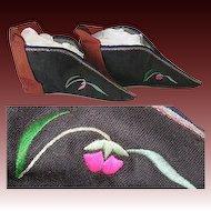 Rare Antique Oriental Lotus Shoes, Tiny for Bound Feet Women!
