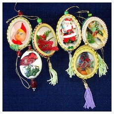 1960s Real Egg Shell Decorated Diorama Scene Christmas Ornaments