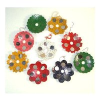 Set 9 Mirrored Metallic Mica Christmas Light Reflector Ornaments