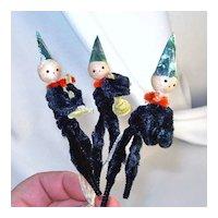 3 Chenille Musical Pixie Elves on Pipe Cleaner Stems
