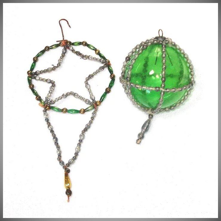 Antique Wire Beaded Caged Ball, Star Dangle Christmas Ornaments ...