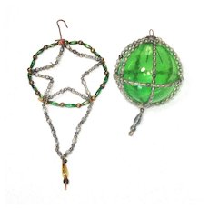 Antique Wire Beaded Caged Ball, Star Dangle Christmas Ornaments