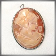 Carved Shell Cameo Pendant Brooch