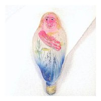Standing Angel 1925 Figural Glass Christmas Light Bulb, Working
