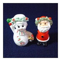 Napco Mini Bone China Santa Snowman Christmas Figures