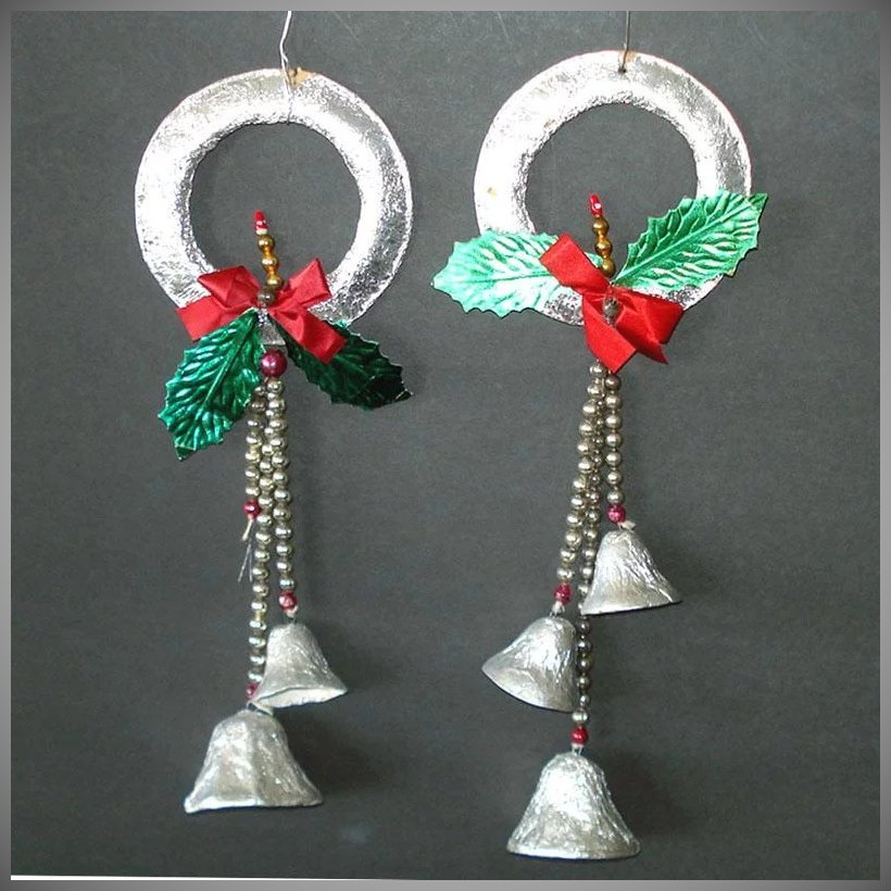 a pair of 1950s japan composition christmas wreath decorations to hang in your windows on the door or on your tree four inch diameter silver foil covered - Foil Christmas Door Decorations