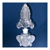 Irice Crystal Feather Fan and Crown Glass Perfume Bottle