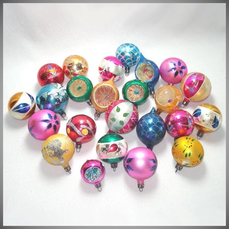 2 Dozen Poland Decorated Glass Christmas Ornaments