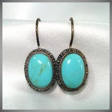 Turquoise Marcasite Oval Drop Pierced Earrings