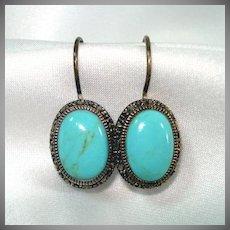 Turquoise Marcasite Oval Drop Pierced Earrings