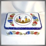 French Quimper Style Breton Biscuit Tin