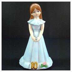 Enesco Growing Up Birthday Girl Figurine Age 10