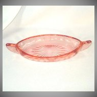 Pink Wheel Cut Depression Glass Canoe Shape Pickle Dish