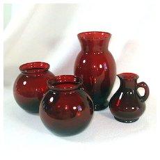 4 Anchor Hocking Royal Ruby Glass Vases Plus Ruby Cruet