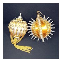 Elegant Gold White Pin Beaded Christmas Ornaments
