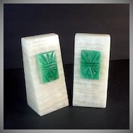 Onyx Wedge Bookends With Green Carved Stone Aztec Faces