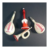 Musical Horn Bell Lutes West Germany Glass Christmas Ornaments
