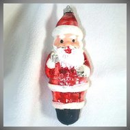 West Germany Standing Santa Glass Christmas Ornament