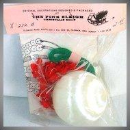 1960s Christmas Ornament Craft Kit Ribbon Fabric Flowers