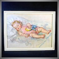 Maud Tousey Fangel Large Framed Sleeping Baby Girl Print