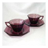 Pair Hazel Atlas Moroccan Amethyst Cups Saucers