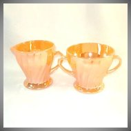 Fire King Peach Luster Shell Swirl Creamer and Sugar