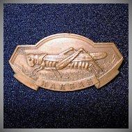 Kansas Grand Army of the Republic Bronze Medal Pin Grasshopper