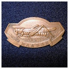 Kansas Grand Army of the Republic Bronze Medal Pin Grasshopper