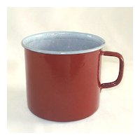 Brown Enamel Graniteware Oversize Coffee Mug
