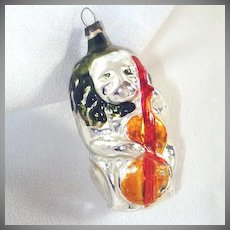 Lion Playing Cello German Glass Christmas Ornament