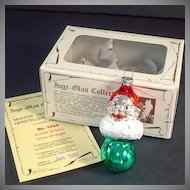Inge Glass 1983 Clown on Ball Christmas Ornament Mint in Box