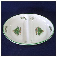 Spode Christmas Tree Divided Oval Serving Bowl